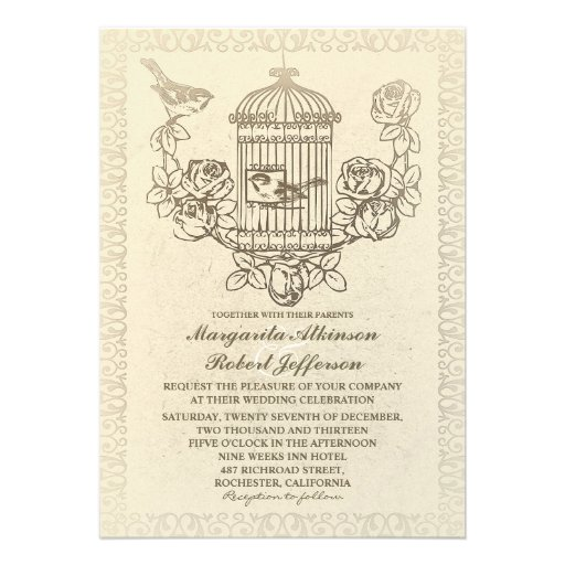 "Wedding Invitations Birdcage: Vintage Love Birds Cage Wedding Invitations 5"" X 7"