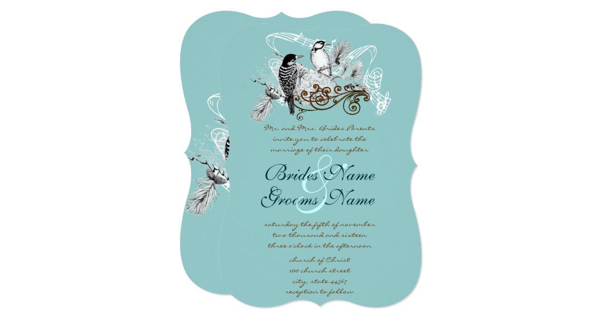 Love Birds Wedding Invitations: Vintage Love Birds Wedding Invitation