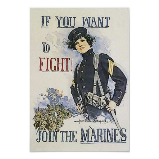Vintage Marine Recruiting Poster For Women