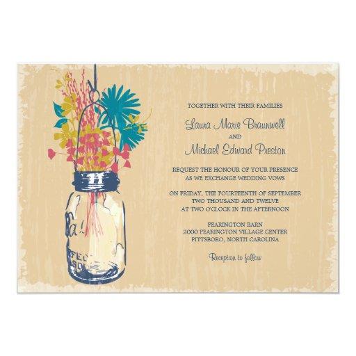 Wedding Invitations Mason Jar: Vintage Mason Jar And Wildflowers Wedding 5x7 Paper