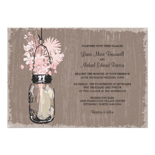 "Wedding Invitations Mason Jar: Vintage Mason Jar And Wildflowers Wedding 5"" X 7"