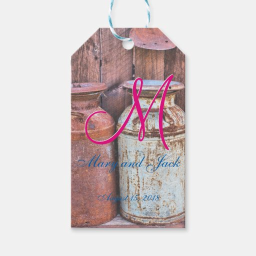 Antique Wedding Gifts: Vintage Metal Milk Jugs Wedding Gift Tags