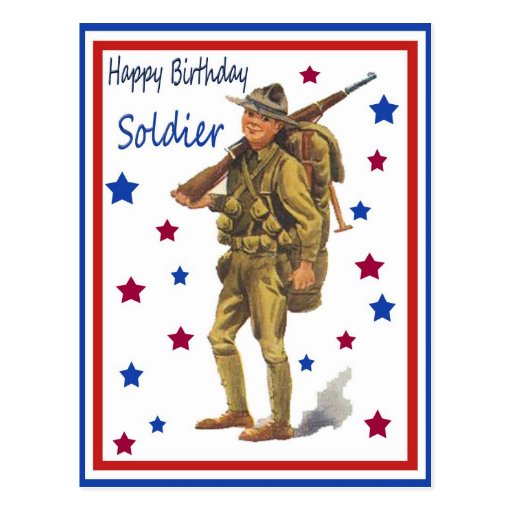 Vintage Military Happy Birthday Soldier Postcard
