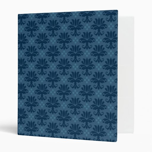 Vintage Monochromatic Dark Blue Fabric Binder