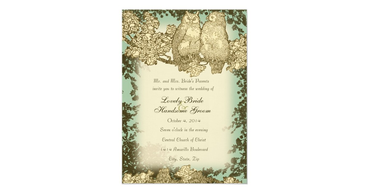 Mr And Mrs Wedding Invitation Wording: Vintage Mr. And Mrs. Owl Wedding Invitation