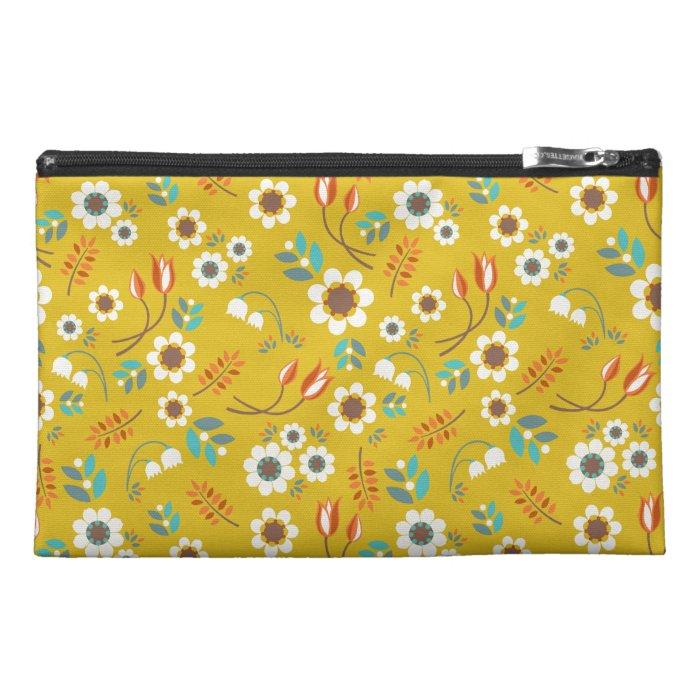 Vintage Mustard Yellow Fl Flowers Pattern Travel Accessories Bag