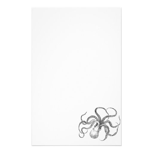 27 Personalized Stationery Templates: Vintage Octopus Template Stationery Paper
