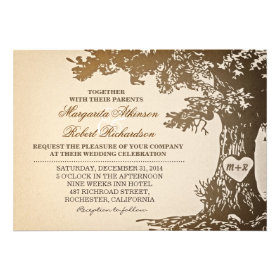 Rustic Country oak tree wedding invitations.  These are great for fall wedding invitations.  Discount Sale Prices up to 40% OFF when you order 100 or more invit