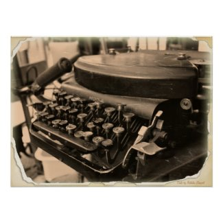 Vintage Old Typewriter Print