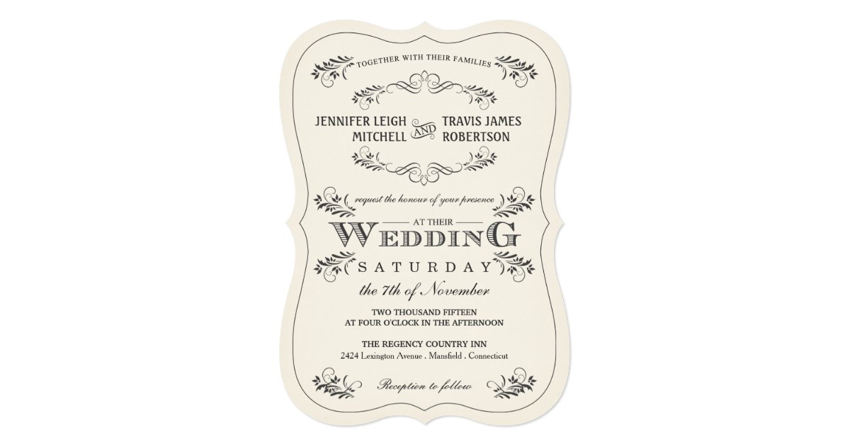 Flourish Wedding Invitations: Vintage Ornate Flourish White Wedding Invitations