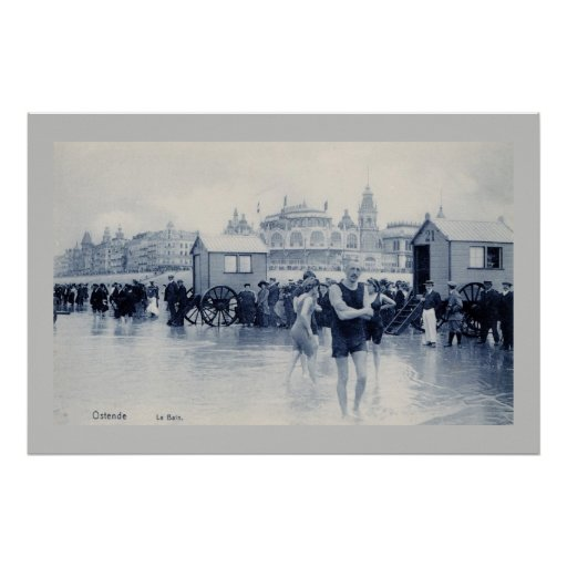 Vintage Ostend Bathing Scene, Standard Size 36x24 Poster