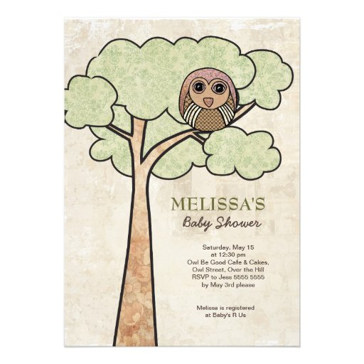 "Vintage Owl Baby Shower Invitations: Vintage Owl In Tree Baby Shower Party Invite` 5"" X 7"