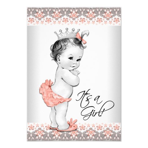 Vintage Baby Shower Invitations Girl: Vintage Peach And Gray Baby Girl Shower 3.5x5 Paper