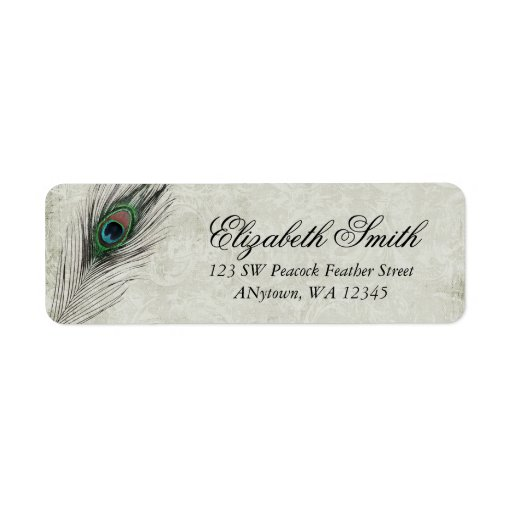 Vintage Peacock Feathers Label