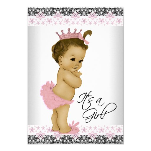 Vintage Baby Shower Invitations Girl: Vintage Pink And Gray Baby Girl Shower Invitation