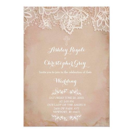 Christian Wording For Wedding Invitations: Vintage Pink Christian Wedding Invitation