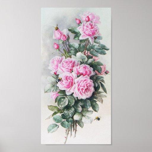 Vintage Pink Roses Bouquet Poster | Zazzle