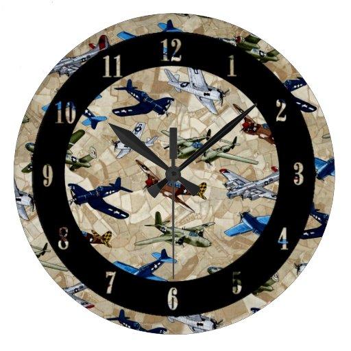Vintage Planes Aviation Wall Clock Zazzle