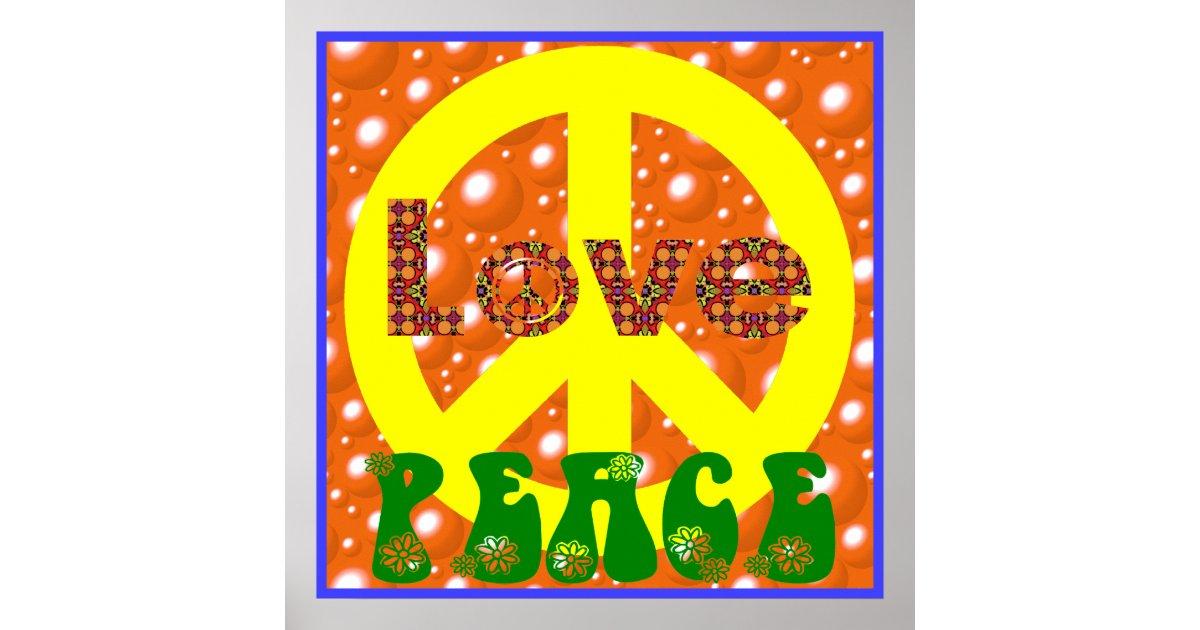Vintage Poster Love Peace Hippie Peace Sign 60s 70 Zazzle