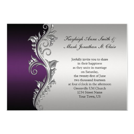 "Purple And Silver Wedding Invitations: Vintage Purple Black And Silver Wedding Invitation 5"" X 7"