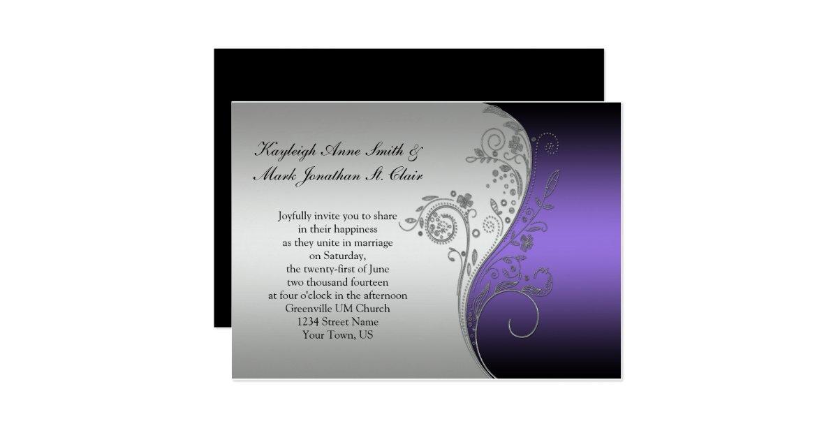Black And Silver Wedding Invitations: Vintage Purple Black And Silver Wedding Invitation