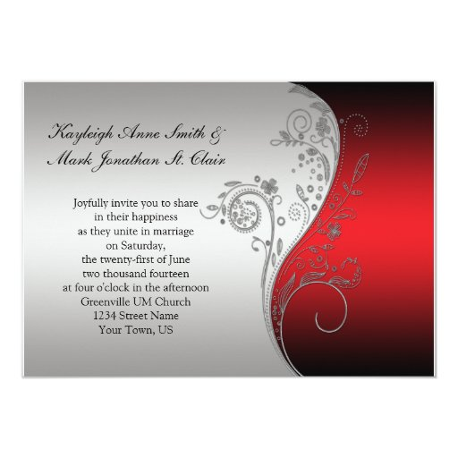 Vintage Red Black And Silver Wedding Invitation Zazzle