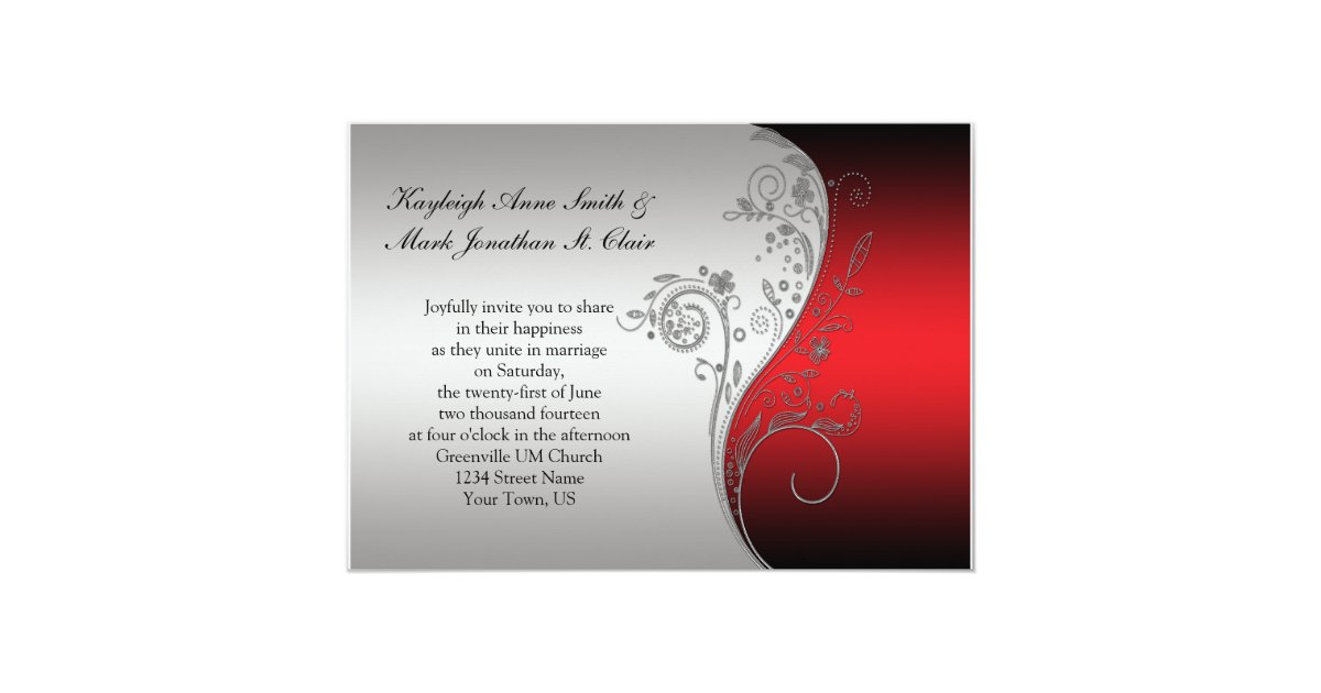 Red Black And Silver Wedding Invitations