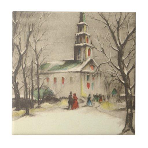 Painting Church In Snow Religious Christmas Ceramic: Vintage Religious Christmas, Church, Snow, Winter Ceramic