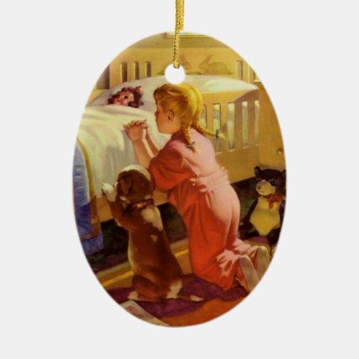 Vintage Religious Christmas Ornament: Vintage Religious Girl Praying Pet Dog At Bedtime Ceramic