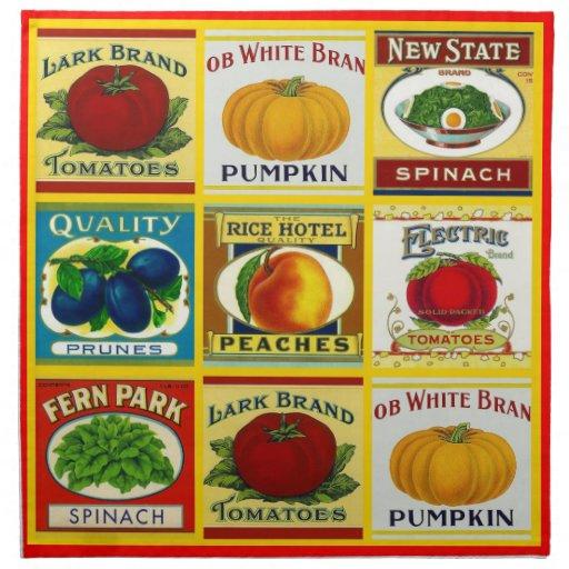 Vintage Retro Can Labels Fruit Vegetables Napkins