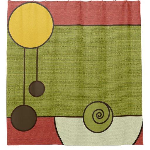 Vintage Retro Green Orange Yellow Shower Curtain
