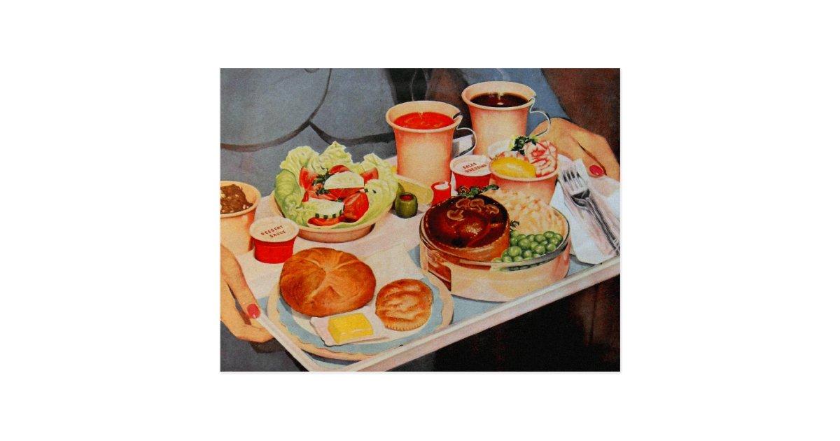 Vintage Retro Kitsch Airplane 60s Airline Food Postcard