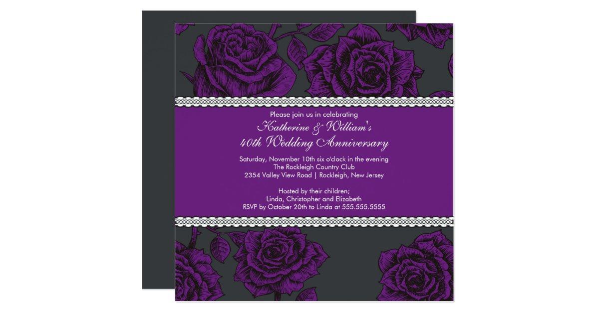 Purple Rose Wedding Invitations: Vintage Rose Anniversary Invitation Black Purple