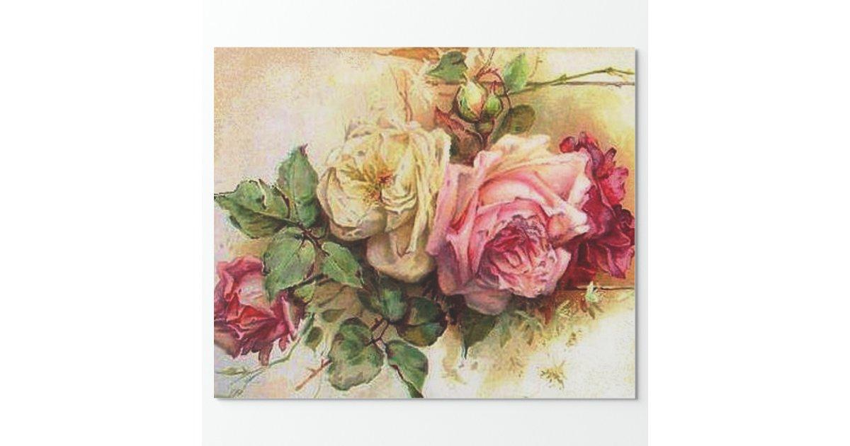 Vintage Rose Bouquet Wrapping Paper Zazzle