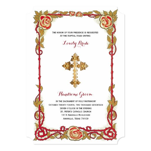 Catholic Wedding Invitations: Vintage Rose Cross Catholic Wedding Invitation