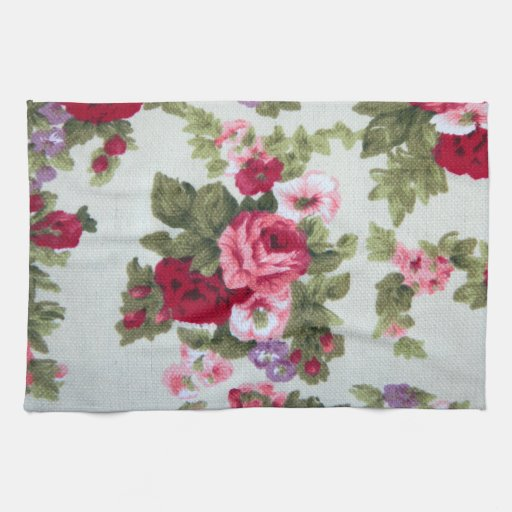 Rose Embroidered Towels: Vintage Rose Textile Print Kitchen Towels