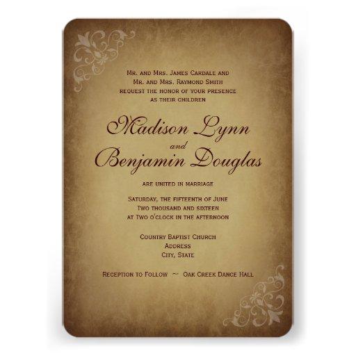 """Custom Rustic Wedding Invitations: Vintage Rustic Wedding Invitations Rounded Corners 4.5"""" X"""