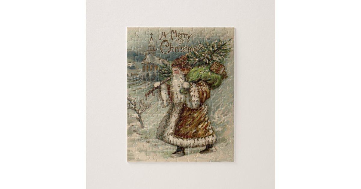 Vintage Santa Claus And Christmas Tree Jigsaw Puzzle