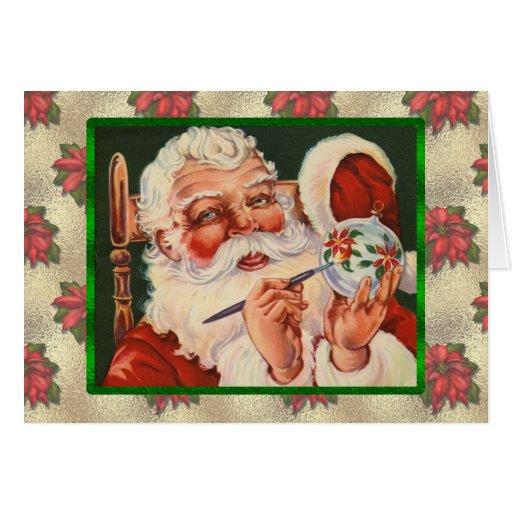 Vintage Santa Painting Card | Zazzle