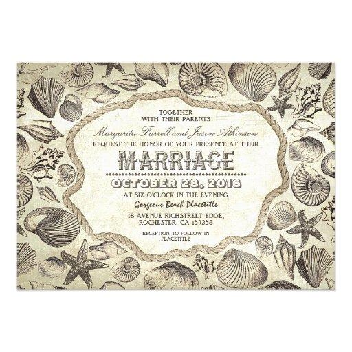 "Vintage Beach Wedding Invitations: Vintage Seashells Nautical Beach Wedding Invites 5"" X 7"