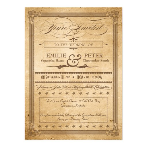 Wedding Invitations Old Fashioned: Vintage Sepia Poster Style Wedding Invitations