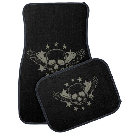 Vintage Skull Wings Stars Auto Floor Mats Set Zazzle