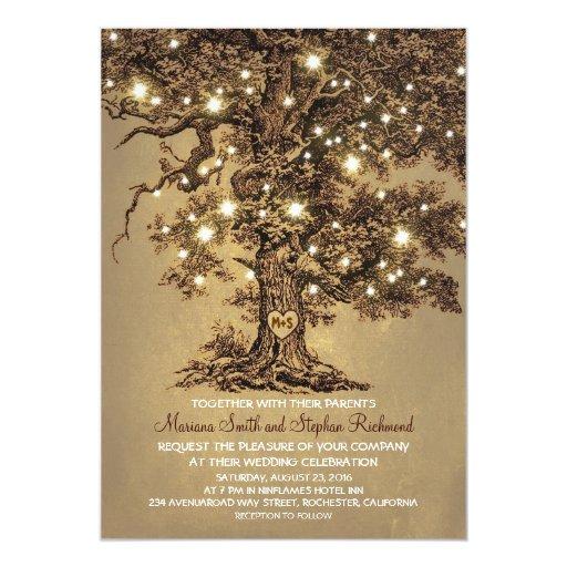 """Wedding Invitation Tree: Vintage String Lights Tree Rustic Wedding Invites 5"""" X 7"""