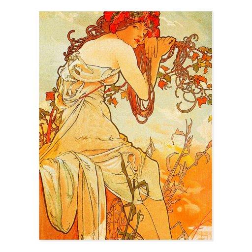 Vintage Summer by Alphonse Mucha Postcard   Zazzle
