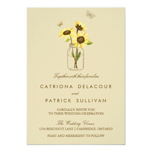 Wedding Invitations Mason Jar: Vintage Sunflowers On Mason Jar Wedding Invitation