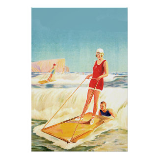 vintage surfing posters zazzle. Black Bedroom Furniture Sets. Home Design Ideas