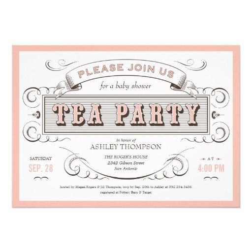 "Vintage Tea Party Invitations 5"" X 7"" Invitation Card | Zazzle"