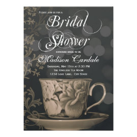 Vintage Teacup Tea Party Bridal Shower Invitations