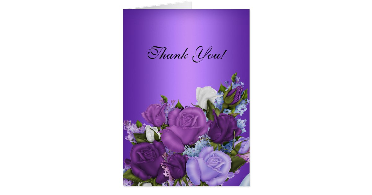 285 75 16 >> Vintage Thank You Card White Roses Purple Flowers | Zazzle