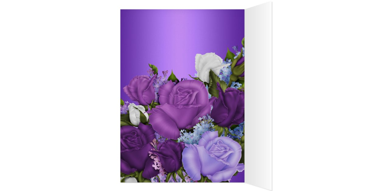 Vintage Thank You Card White Roses Purple Flowers Zazzle